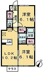 栃木県鹿沼市仁神堂町の賃貸アパートの間取り