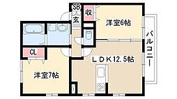 愛知県名古屋市緑区黒沢台1丁目の賃貸アパートの間取り