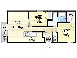 北海道札幌市中央区宮の森4条1丁目の賃貸マンションの間取り