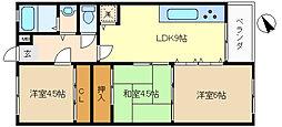兵庫県神戸市垂水区向陽2丁目の賃貸マンションの間取り
