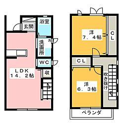 [テラスハウス] 愛知県名古屋市名東区植園町3丁目 の賃貸【/】の間取り