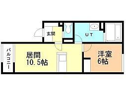 雪月花 弐(セツゲツカ2) 1階1LDKの間取り