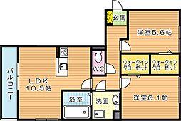 ソレールヴィラII A棟[3階]の間取り