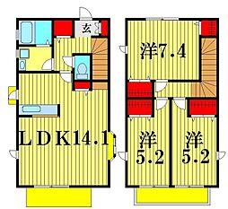 [一戸建] 千葉県松戸市二十世紀が丘中松町 の賃貸【/】の間取り