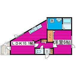 JR学園都市線 石狩当別駅 徒歩8分の賃貸アパート 1階1LDKの間取り