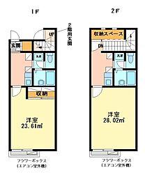 兵庫県姫路市飾磨区矢倉町2丁目の賃貸アパートの間取り