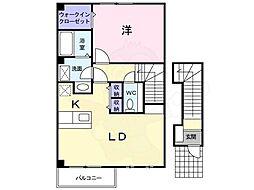 泉北高速鉄道 深井駅 徒歩17分の賃貸アパート 2階1LDKの間取り
