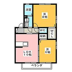 カーサリベルテ B[2階]の間取り