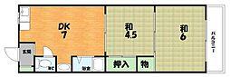 大阪府枚方市三栗1丁目の賃貸マンションの間取り