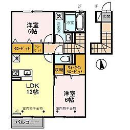 富山県富山市赤田の賃貸アパートの間取り