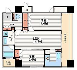 リーガルタワー大阪[11階]の間取り