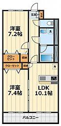 神奈川県大和市中央林間4丁目の賃貸マンションの間取り