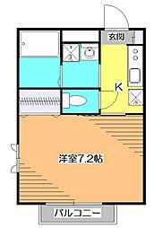 東京都小平市上水南町1の賃貸アパートの間取り