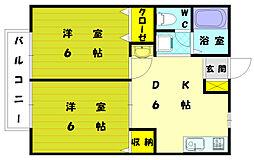 アメニティロード21B[2階]の間取り