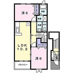 埼玉県鴻巣市氷川町の賃貸アパートの間取り