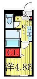 JR京浜東北・根岸線 王子駅 徒歩4分の賃貸マンション 5階1Kの間取り