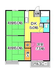 埼玉県所沢市星の宮2丁目の賃貸アパートの間取り