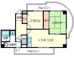 山田マンションビューテラス[3階]の間取り