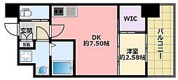 阪神本線 鳴尾・武庫川女子大前駅 徒歩6分の賃貸マンション 5階1DKの間取り