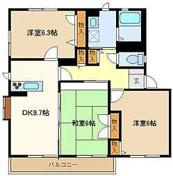 埼玉県春日部市大枝の賃貸アパートの間取り