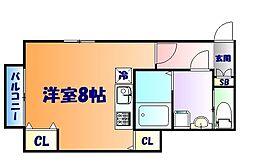 仙台市営南北線 台原駅 徒歩6分の賃貸アパート 1階ワンルームの間取り