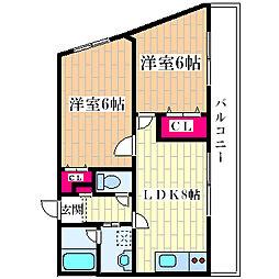 大阪府大阪市西淀川区柏里2丁目の賃貸マンションの間取り