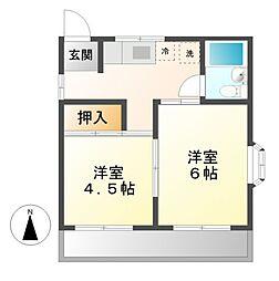 東京都小金井市梶野町3丁目の賃貸アパートの間取り