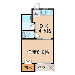 七福マンション[4階]の間取り