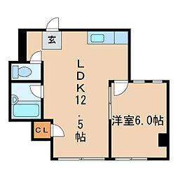 中駒新栄レオンビル[4階]の間取り