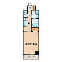 パラシオン車道西館[9階]の間取り