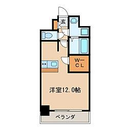 プレサンス栄ブリオ 4階ワンルームの間取り