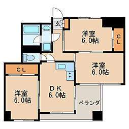 ロア錦[3階]の間取り