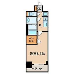 プレサンスジェネ丸の内 9階1Kの間取り