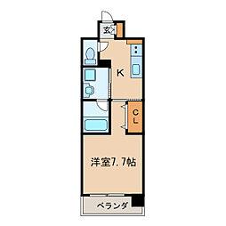 GRAND ESPOIR IZUMI 10階1Kの間取り
