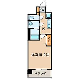 プレサンス丸の内フォート 14階1Kの間取り