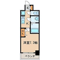プレサンス栄フェル 13階1Kの間取り