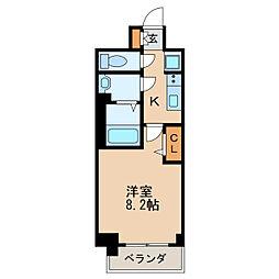 プレサンス丸の内アデル 8階1Kの間取り