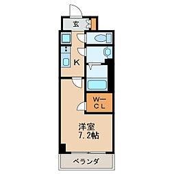 プレサンス丸の内アデル 9階1Kの間取り