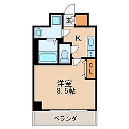 レジデンシア泉I 8階1Kの間取り