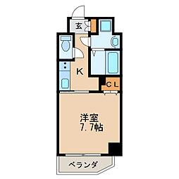 レジデンシア泉II 9階1Kの間取り