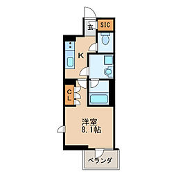 オープンレジデンシア久屋大通THECOURT 10階1Kの間取り