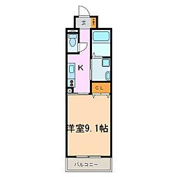 愛知県名古屋市天白区平針3丁目の賃貸マンションの間取り