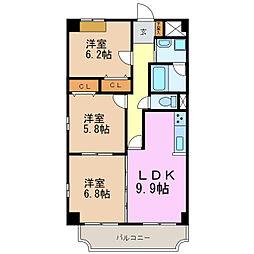 ベルカーサ東山台I[3階]の間取り