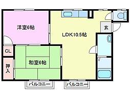シティハイツ本郷草 II[2階]の間取り
