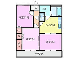 三重県四日市市楠町北五味塚の賃貸アパートの間取り
