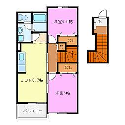三重県亀山市関町新所の賃貸アパートの間取り