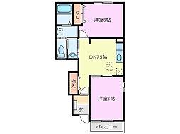 三重県亀山市西町の賃貸アパートの間取り