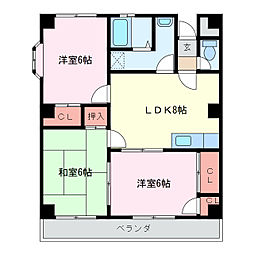 スクエアタウン[2階]の間取り