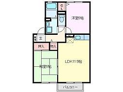三重県亀山市江ケ室1丁目の賃貸アパートの間取り