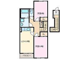 三重県鈴鹿市算所5丁目の賃貸アパートの間取り